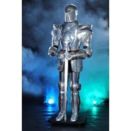 Rustning, riddare med svärd 185 cm - blank